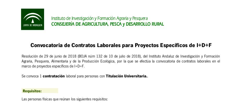 Convocatoria de contrato laboral en el marco de proyectos específicos de I+D+F (BOJA núm 132)