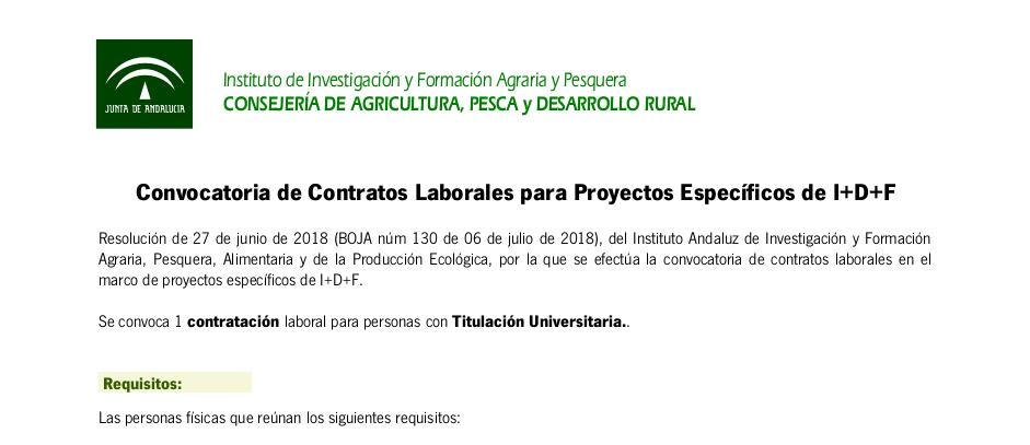 Convocatoria de contratos laborales en el marco de proyectos específicos de I+D+F (BOJA núm 130)
